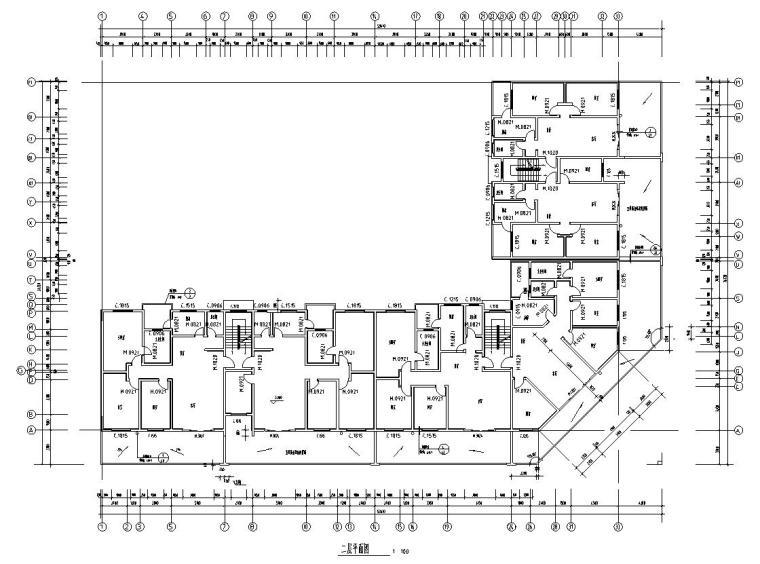 六层L型住宅三单元混合户型图设计-二层平面图