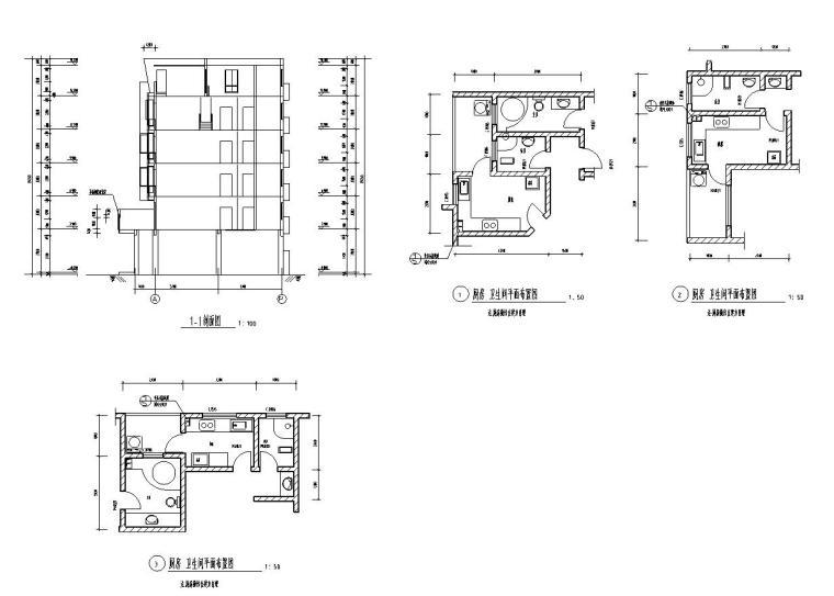 六层L型住宅三单元混合户型图设计-剖面图