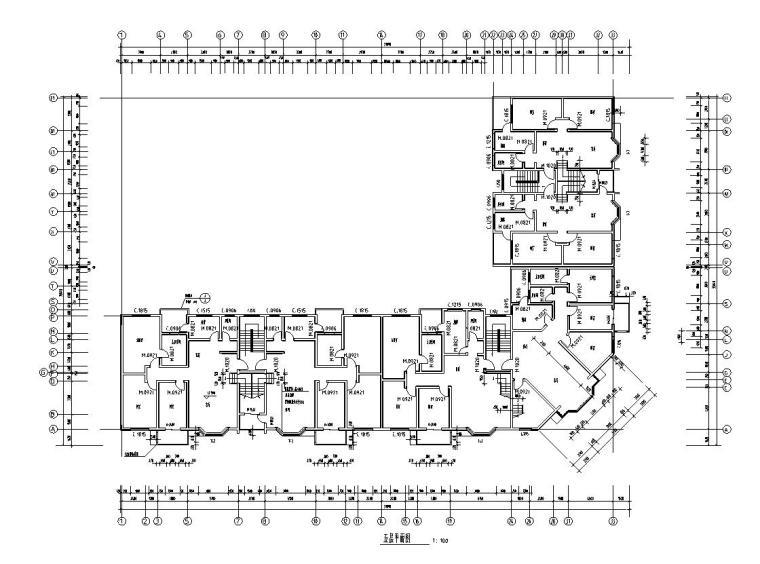 六层L型住宅三单元混合户型图设计-五层平面图