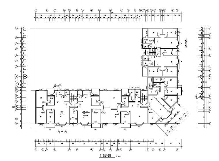 六层L型住宅三单元混合户型图设计-三层-四层平面图层平面图