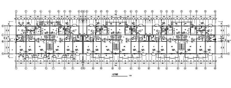 六层跃七层三单元对称户型设计图-六层平面图