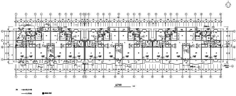 六层跃七层三单元对称户型设计图-底层平面图
