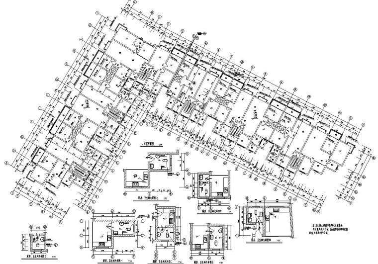 8层L型6单元每单元2户住宅楼设计图