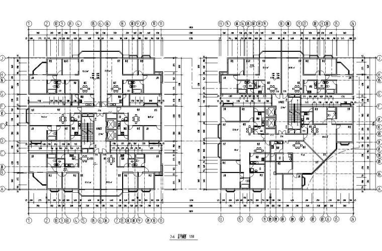 26层双塔式1楼梯2电梯6户住宅楼设计图-2-6层平面图