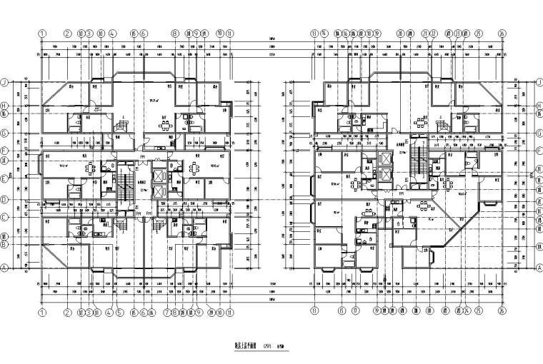 26层双塔式1楼梯2电梯6户住宅楼设计图-跃层上层平面图
