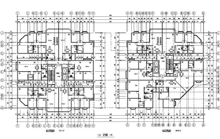 26层双塔式1楼梯2电梯6户住宅楼设计图-7-20层平面图