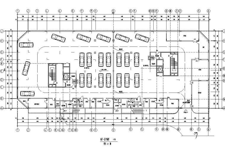 26层双塔式1楼梯2电梯6户住宅楼设计图-地下一层平面图