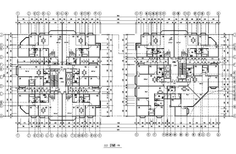 26层双塔式1楼梯2电梯6户住宅楼设计图-21.23层平面图