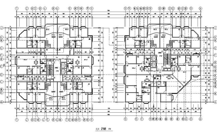 26层双塔式1楼梯2电梯6户住宅楼设计图-22.24层平面图