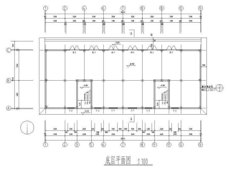 六层安置楼二单元1968平米对称户型设计图-01 底层平面图