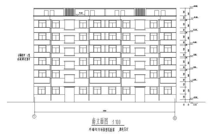 六层安置楼二单元1968平米对称户型设计图-南立面图