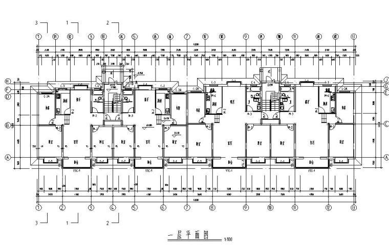 六层二单元3023平米对称户型图