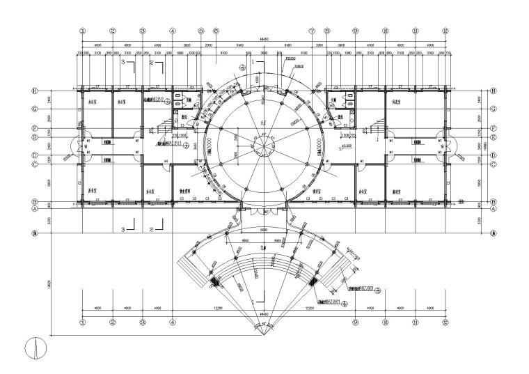 03圆形大厅多层会所侧一层平面图