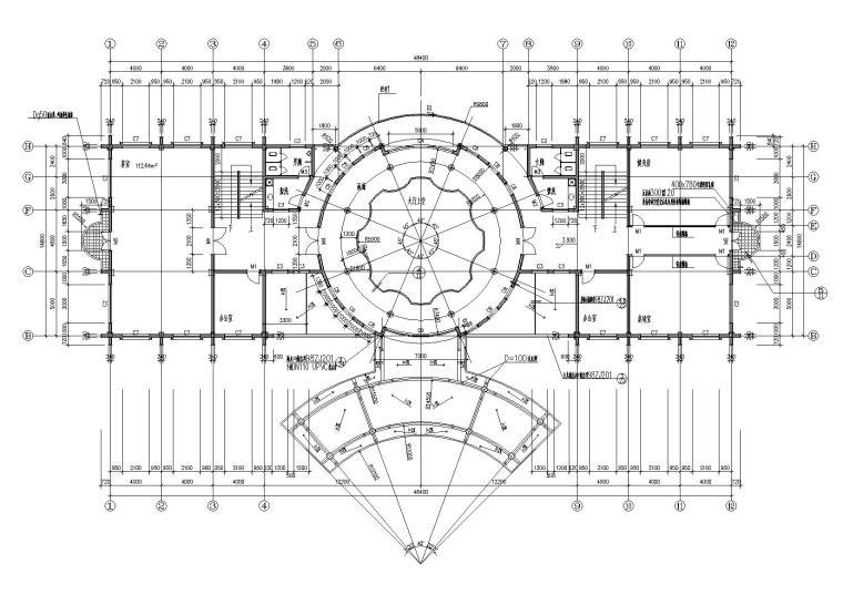 04圆形大厅多层会所侧二层平面图