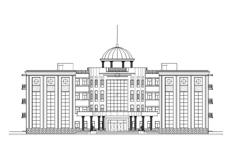某居住区圆形大厅多层会所建筑施工图