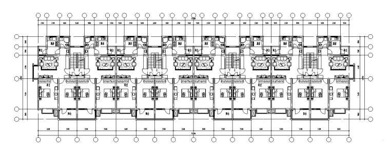 七层经典住宅四单元对称户型设计图-标准层平面图