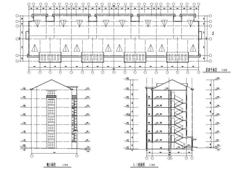 七层经典住宅四单元对称户型设计图-剖面图