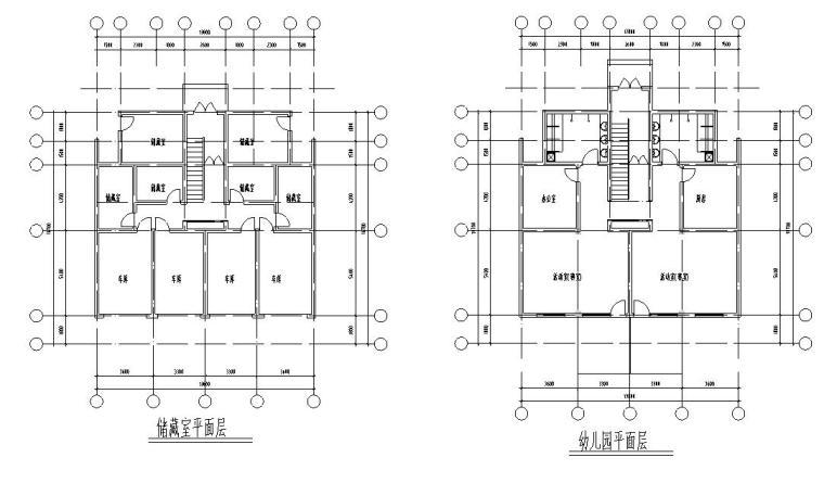 七层经典住宅四单元对称户型设计图-平面图