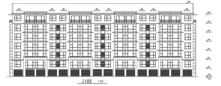 七层经典住宅四单元对称户型设计图-正立面图