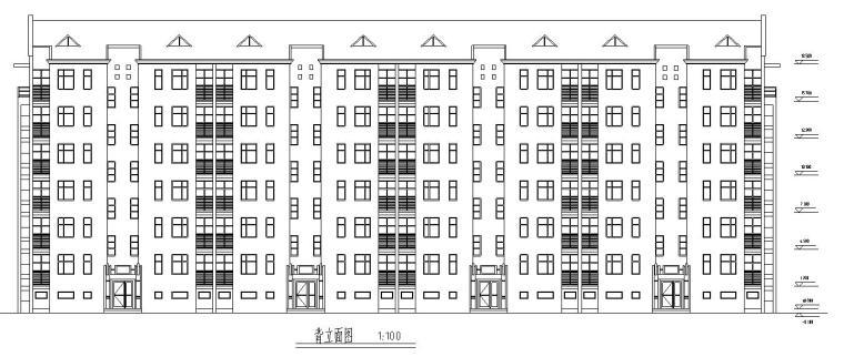 七层经典住宅四单元对称户型设计图-北立面图