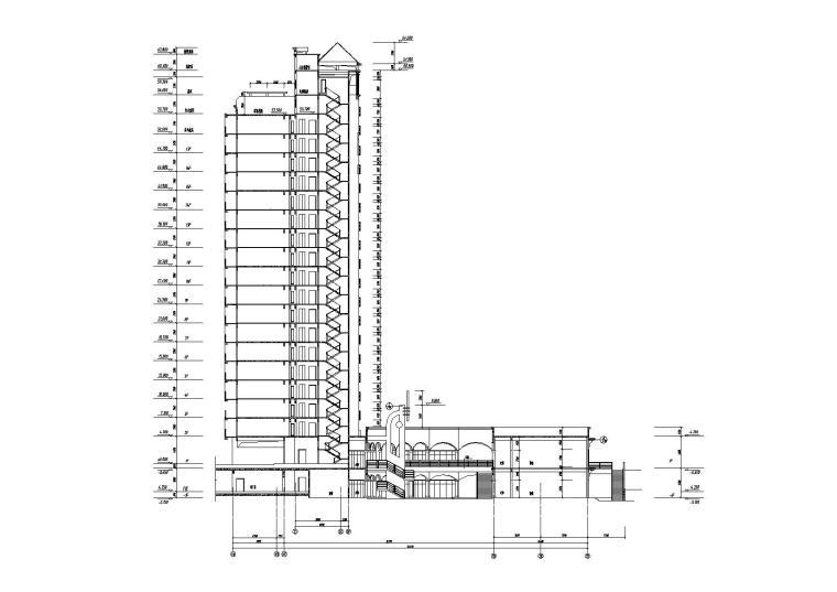 [江苏]南京某小区内商业街建筑施工图-04商业街A栋剖面图
