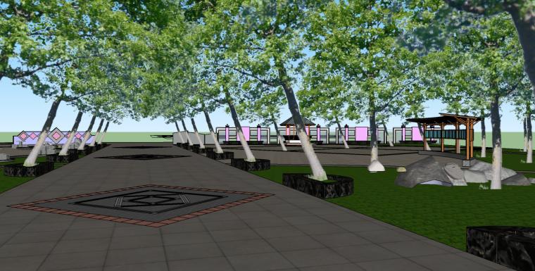 老年活动中心前场游园景观su模型-6