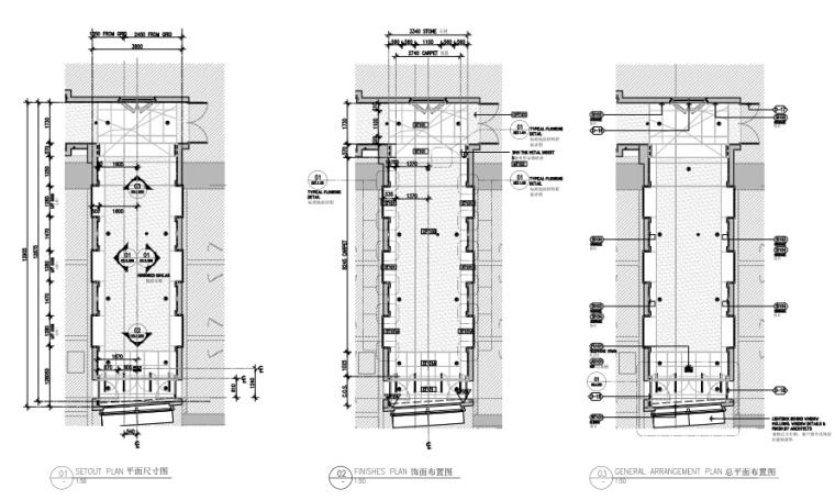 上海前滩香格里拉大酒店样板间方案+施工图-样板间电梯厅平面图