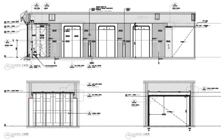 上海前滩香格里拉大酒店样板间方案+施工图-样板间电梯厅立面图