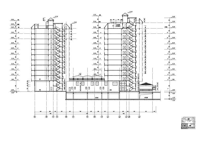 [江苏]南京某小区内商业街建筑施工图-09商业街B栋剖面图