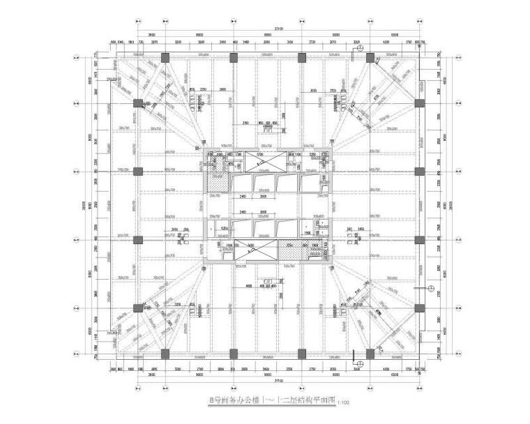 21层框筒结构超高层商务办公楼建筑结构图