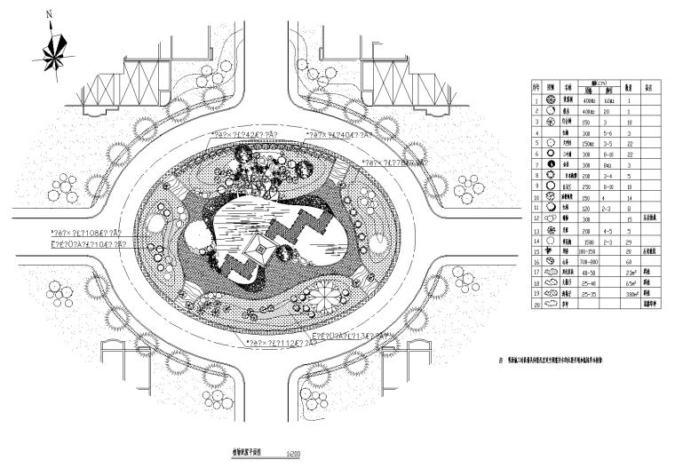 广场园林植物配置CAD平面图