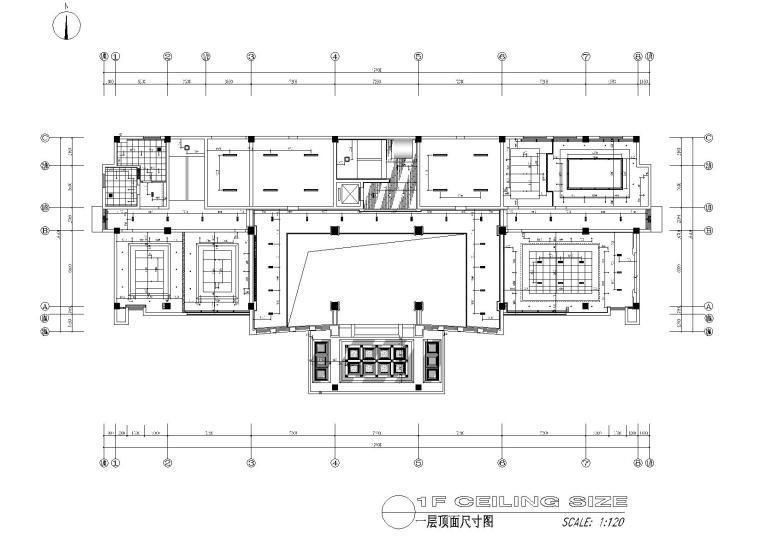 [江苏]苏州中式办公楼施工图+效果图-一层天花尺寸图