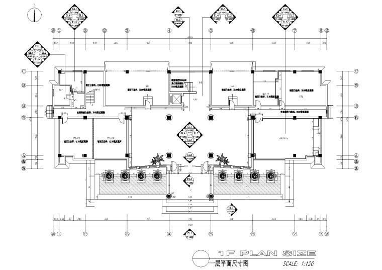 [江苏]苏州中式办公楼施工图+效果图-一层墙体尺寸图