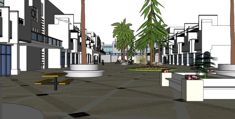 商业街景观su模型