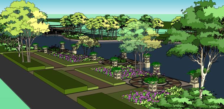 城市河道景观欧式风格带规划su模型