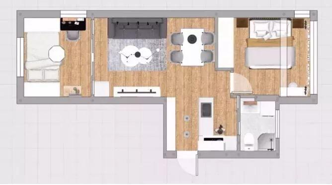 56㎡的小户型,阳台改卧室变出两室一厅