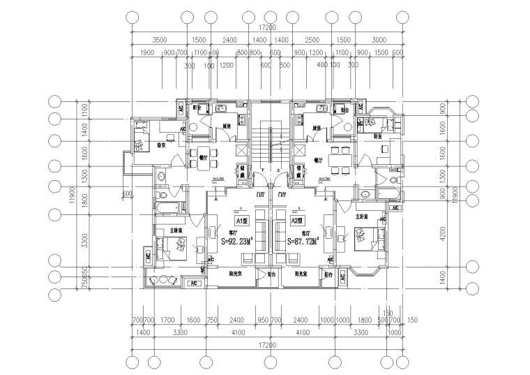 7套完整全楼层户型平面图