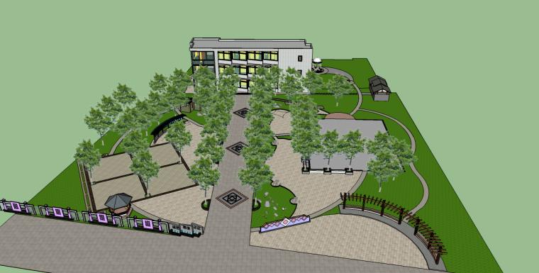 老年活动中心前场游园景观su模型