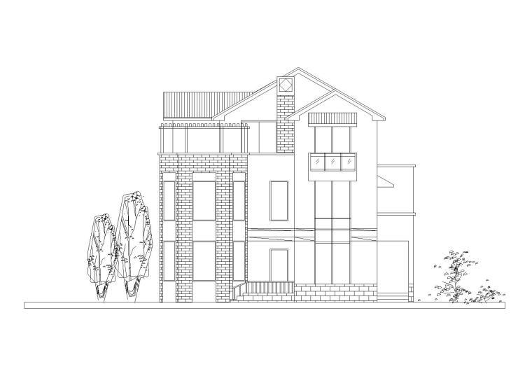 [江苏]苏南富裕型独院式小康农居建筑施工图-01苏南小康农居南立面图