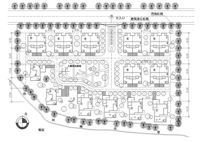 [江苏]苏南富裕型独院式小康农居建筑施工图-09苏南小康农居总平面图