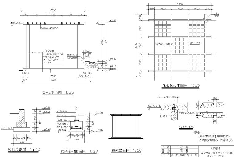 私家庭院花园CAD施工图-花园施工图纸 2-花架基础剖面图_看图王