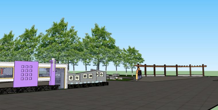 老年活动中心前场游园景观su模型-3