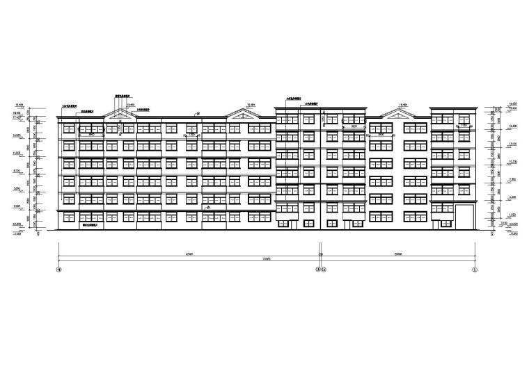 一梯两户多层住宅楼建筑施工图-02多层住宅楼北立面图