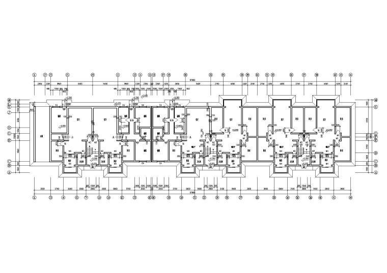 一梯两户多层住宅楼建筑施工图-03多层住宅楼0.9m处平面图