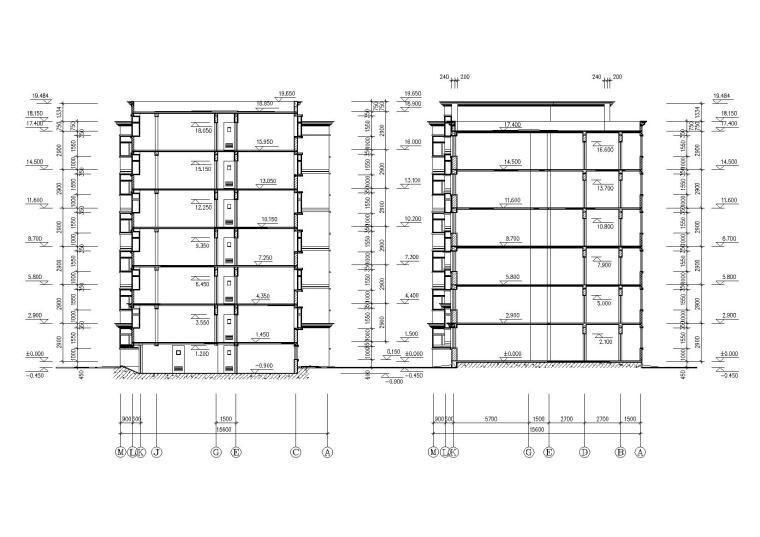 一梯两户多层住宅楼建筑施工图-06多层住宅楼剖面图