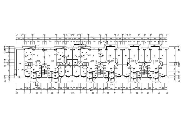 一梯两户多层住宅楼建筑施工图-04多层住宅楼2.5m处平面图