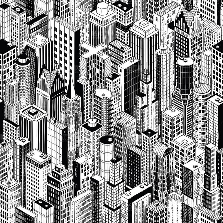 PS拼贴风轴测效果图贴图素材-城市街道