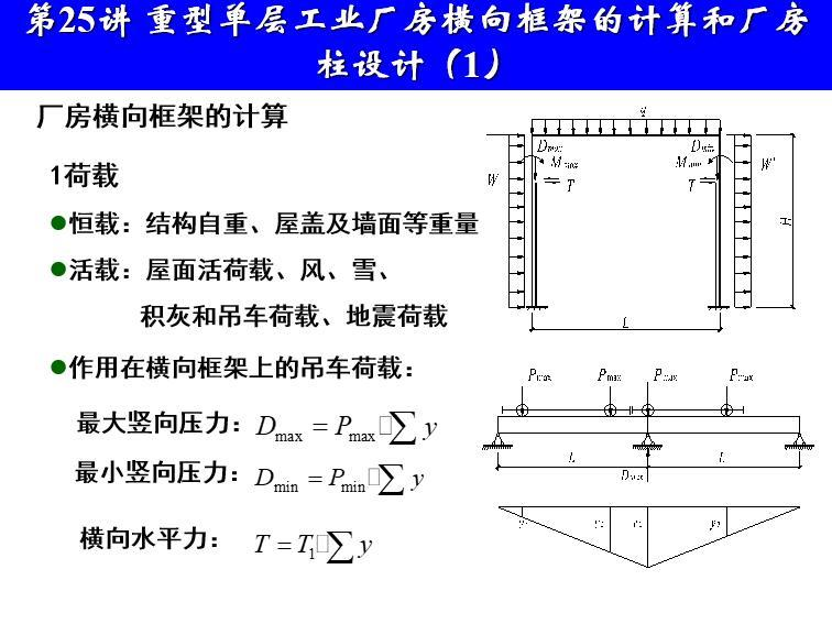 重型单层工业厂房横向框架的计算及柱设计