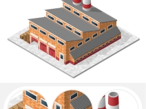 PS拼貼風軸測效果圖貼圖素材-建筑(EPS)