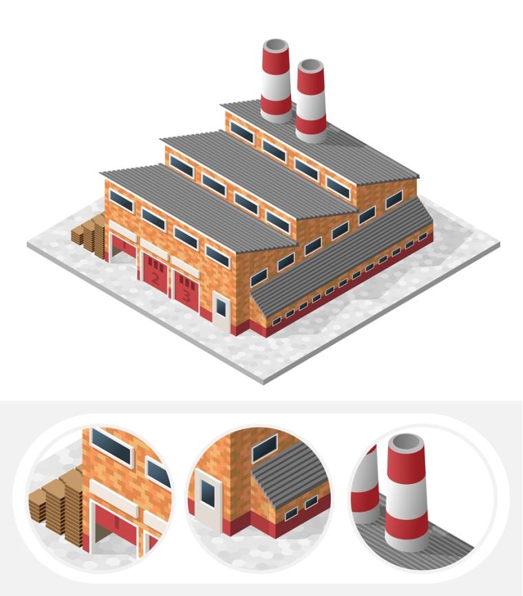 PS拼贴风轴测效果图贴图素材-建筑(EPS)